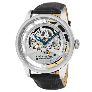 Stuhrling Original Automatic Skeleton Legacy Balck Leather Strap Watch