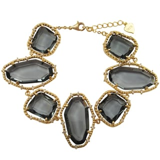 Luxiro Gold Finish Grey Sliced Glass and Cubic Zirconia Chunky Bracelet
