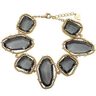 Luxiro Gold Finish Grey Sliced Glass and Cubic Zirconia Chunky Bracelet https://ak1.ostkcdn.com/images/products/14403915/P20973485.jpg?impolicy=medium