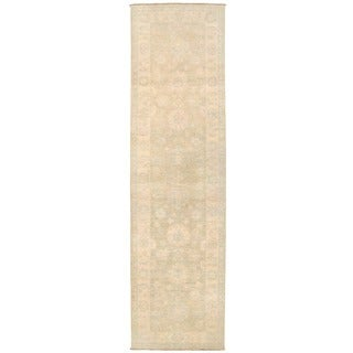 Herat Oriental Afghan Hand-knotted Vegetable Dye White Wash Oushak Wool Runner (2'7 x 9'9)