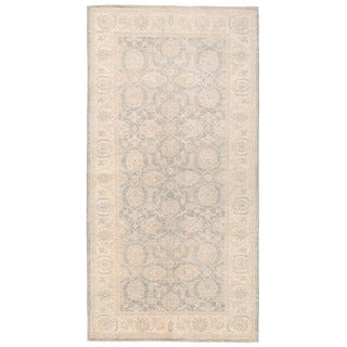Herat Oriental Afghan Hand-knotted Vegetable Dye White Wash Oushak Wool Rug (4'2 x 8')