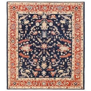 Herat Oriental Afghan Hand-knotted Vegetable Dye Oushak Wool Rug (8'2 x 9'3)