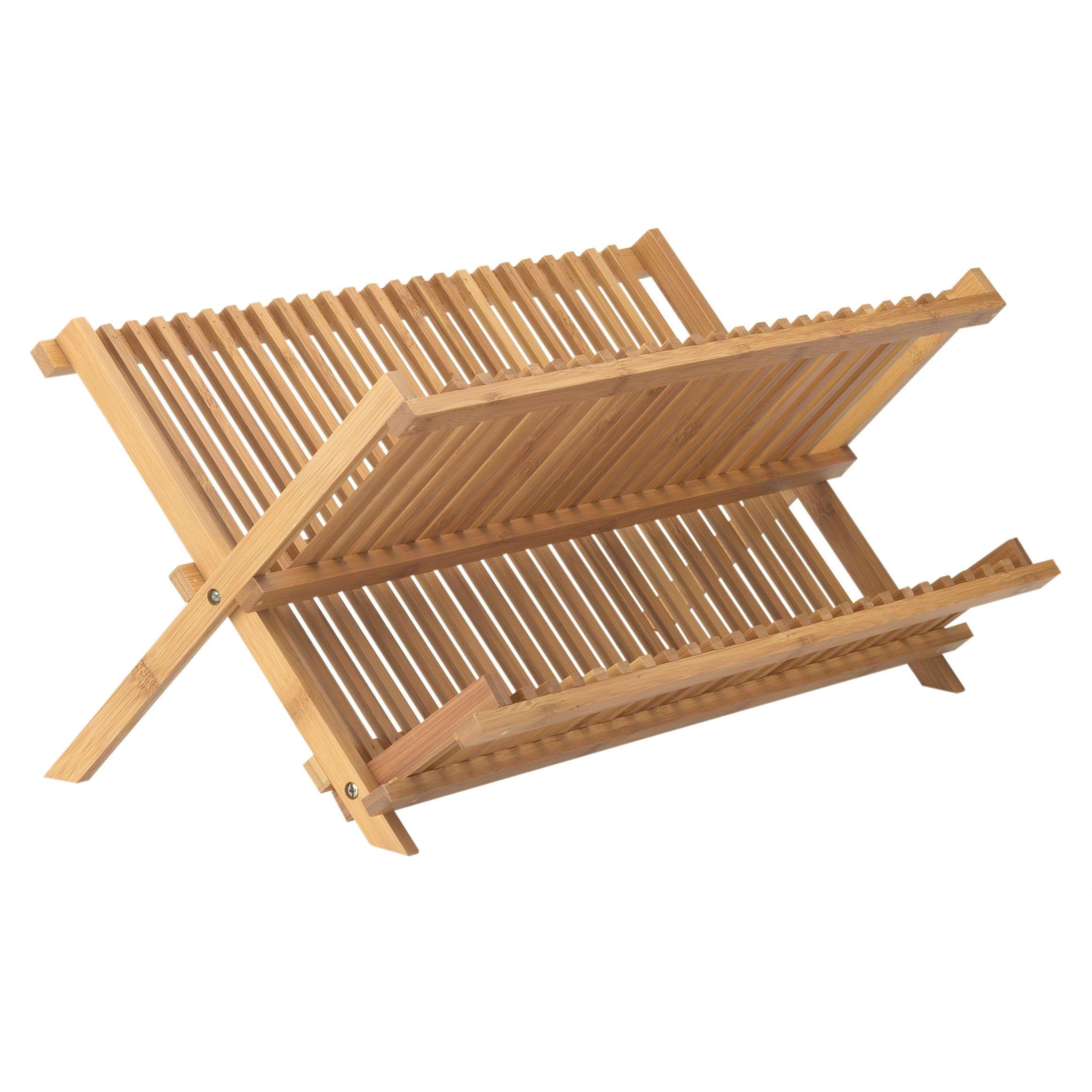 Bamboo (Green) Dish Drying Rack (Brown) (Wood)