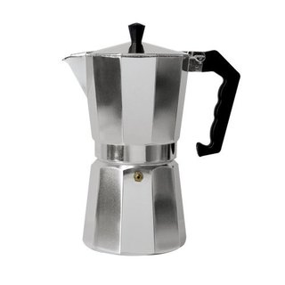Silver-colored Aluminum 12-cup Espresso Pot