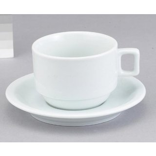 White Porcelain 7-ounce Cappucino Cup and Saucer (Pack of 6)