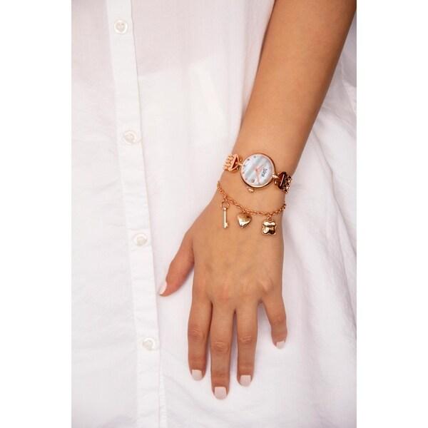 Shop Burgi Women S Swarovski Crystal Hanging Charm Date Rose Tone