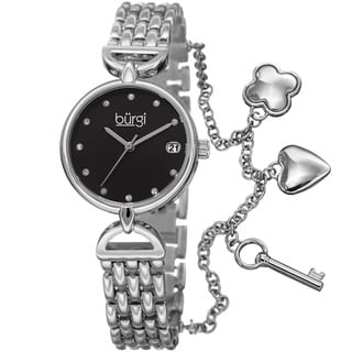 Burgi Women's Swarovski Crystal Hanging Charm Date Black/Silver-Tone Bracelet Watch