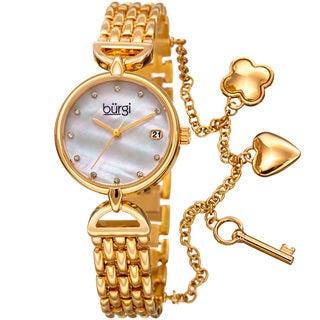 Burgi Women's Swarovski Crystal Hanging Charm Date Gold-Tone Bracelet Watch