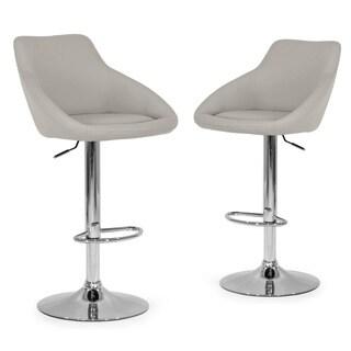 Set of 2 Alani Ashy Grey Adjustable Height Swivel Barstool in Faux Leather