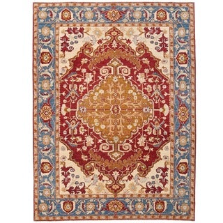 Herat Oriental Afghan Hand-knotted Vegetable Dye Serapi Wool Rug (8'10 x 11'10)