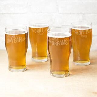 19 oz. Beer Pun Pilsner Glasses (Set of 4)