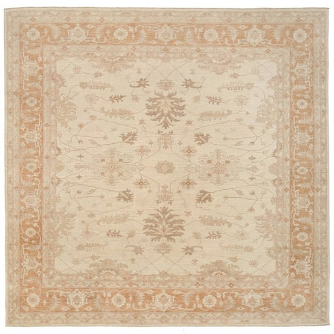 Herat Oriental Afghan Hand-knotted Vegetable Dye Oushak Wool Rug (11'4 x 11'4) - 11'4 x 11'4