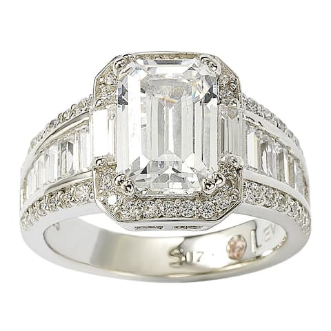 Suzy L. Sterling Silver White Emerald-Cut Cubic Zirconia Engagement Ring
