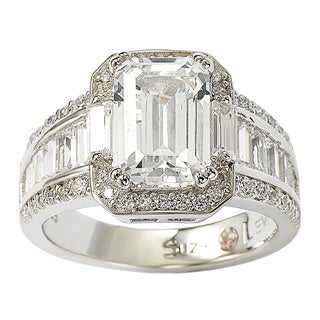 Suzy Levian Sterling Silver White Emerald-Cut Cubic Zirconia Engagement Ring