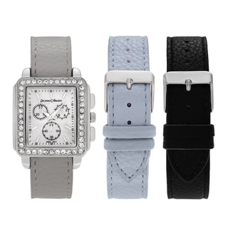 Journee Collection Women's Silvertone Rhinestone Accent Square Face Interchangeable Watch Strap Set