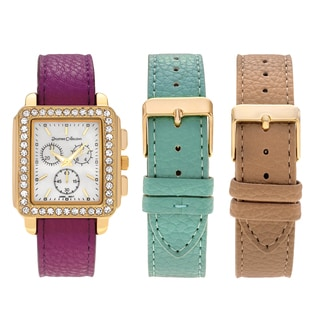 Journee Collection Women's Goldtone Rhinestone Accent Square Face Interchangeable Watch Strap Set