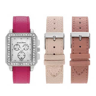 Journee Collection Women's Silvertone Rhinestone Accent Square Face Interchangeable Strap Watch Set