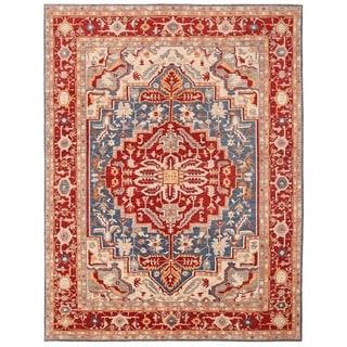 Herat Oriental Afghan Hand-knotted Vegetable Dye Serapi Wool Rug (12' x 15'4)