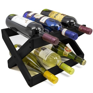 Sorbus Countertop Collapsible Matte Black Bamboo Wood 6-bottle Wine Rack
