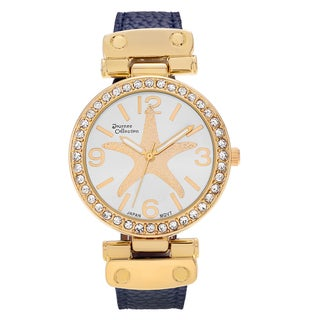Journee Collection Women's Goldtone Rhinestone Accent Starfish Dial Faux Leather Strap Watch