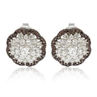 Suzy Levian Sterling Silver Brown Cubic Zirconia 3D Flower Stud Earrings