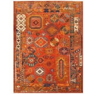 Herat Oriental Afghan Hand-knotted Vegetable Dye Kazak Wool Rug (10'2 x 13'8)