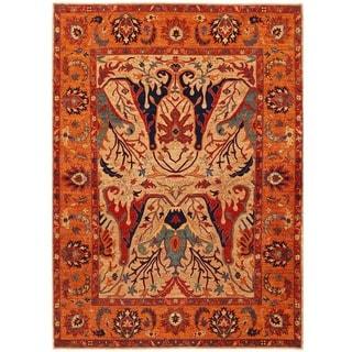 Herat Oriental Afghan Hand-knotted Vegetable Dye Ziegler Wool Rug (9'8 x 13'5)
