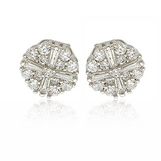 Suzy Levian Sterling Silver White Cubic Zirconia Fancy Cluster Stud Earrings