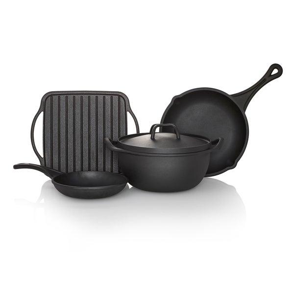 shop sabatier pre seasoned rust resistant cast iron cookware 5 piece set free shipping today. Black Bedroom Furniture Sets. Home Design Ideas