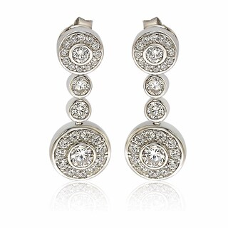 Suzy Levian Sterling Silver White Cubic Zirconia Circle Drop Earrings