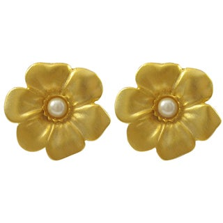Luxiro Satin Gold Finish Faux Pearl Flower Earrings