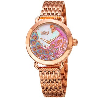 Burgi Women's Colorful Peacock Design Rose-Tone Stainless Steel Bracelet Watch