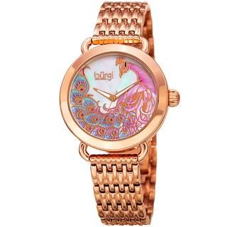 Burgi Women's Colorful Peacock Design Rose-Tone Stainless Steel Bracelet Watch
