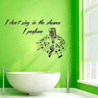 Microphone Wall Decals Quotes Sing In The Shower Words Home Decor Vinyl Art Wall Decor Sticker Decal