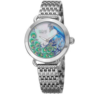Burgi Women's Colorful Peacock Design Silver-Tone Stainless Steel Bracelet Watch