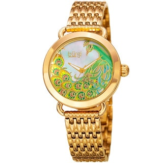 Burgi Women's Colorful Peacock Design Gold-Tone Stainless Steel Bracelet Watch