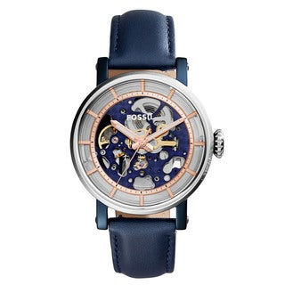 Fossil Women's ME3136 Original Boyfriend Automatic Skeleton Dial Blue Leather Watch