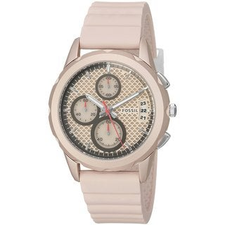 Fossil Women's ES4172 Modern Pursuit Chronograph Pink Dial Blush Silicone Watch