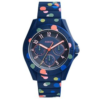 Fossil Women's ES4141 Poptastic Multi-Function Blue Dial Polka-Dot Blue Silicone Watch