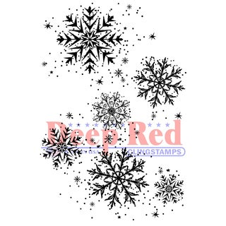 Deep Red Cling Stamp 2X3-Snowflake Background