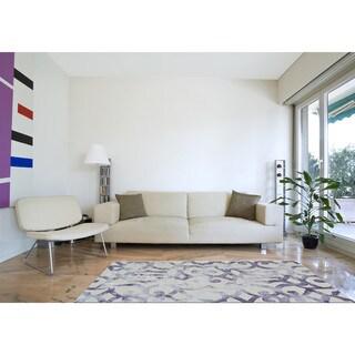 Grand Bazaar Marengo Violet 8 x 11 Abstract Lattice Wool Area Rug - 8' x 11'