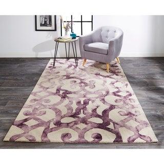 Grand Bazaar Marengo Violet Geometric Handmade Wool Area Rug - 8' x 11'