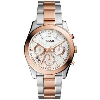 Fossil Women's ES4135 Perfect Boyfriend Multi-Function Mother Of Pearl Dial Two-Tone Stainless Steel Bracelet Watch