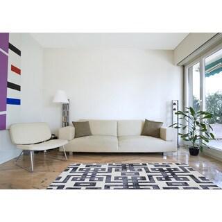 Grand Bazaar Marengo Noir Handmade Geometric Contemporary Area Rug - 8' x 11'