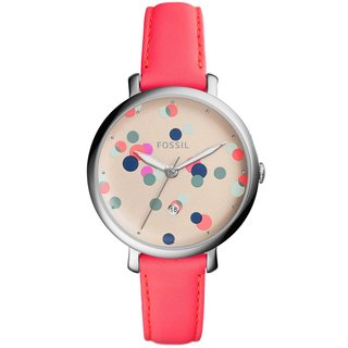 Fossil Women's ES4134 Jacqueline Polka-Dot Cream Dial Neon Coral Leather Watch
