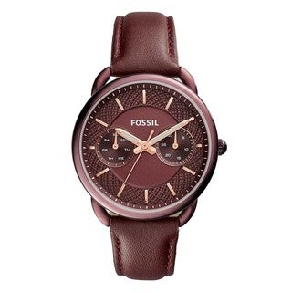 Fossil Women's ES4121 Tailor Multi-Function Wine Dial Wine Leather Watch