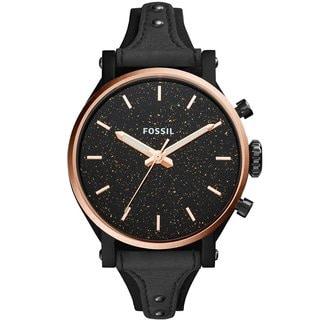Fossil Women's ES4112 Original Boyfriend Sparkle Black Dial Black Leather Watch