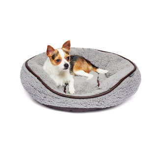 Round Sherpa Orthopedic Pet Bed Cuddler with Faux Leather Trim