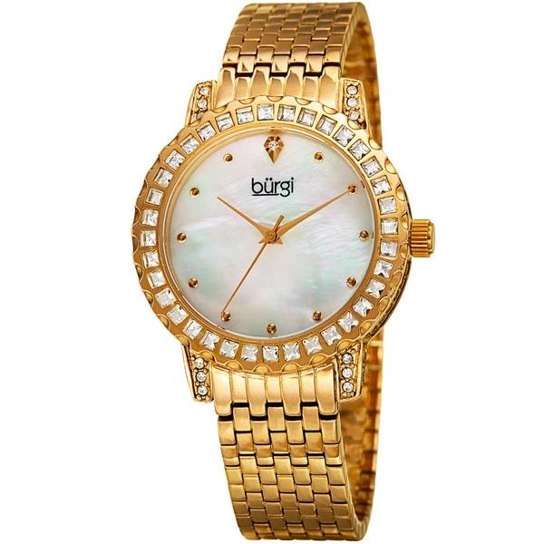 Burgi Women's Sparkling Czech Crystal Gold-Tone Brick Road Bracelet Watch