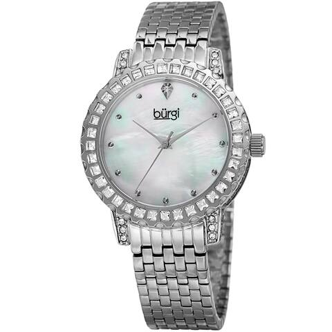 Burgi Women's Sparkling Czech Crystal Silver-Tone Brick Road Bracelet Watch